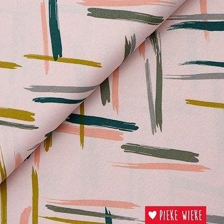 Viscose tricot Retro stripes roze