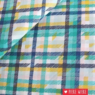 Coton Midnight garden checkers Green - yellow