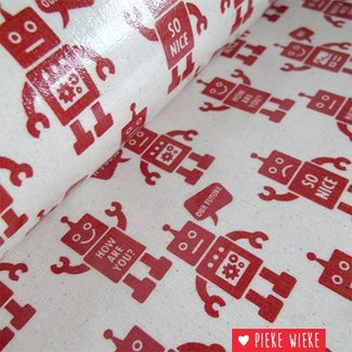 Kokka Laminated canvas Robots Red
