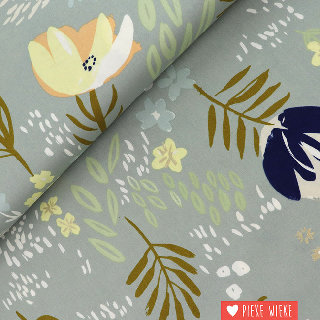 Rico design Cotton Flowers metalic grey