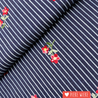 Chambray Embroidered Stripes Dark Jeans