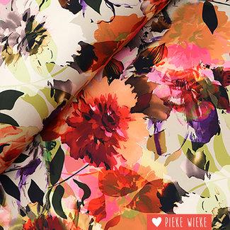 Scuba crêpe watercolour flowers