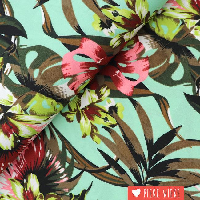 Scuba crêpe tropical flowers