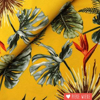 Scuba crêpe botanical geel