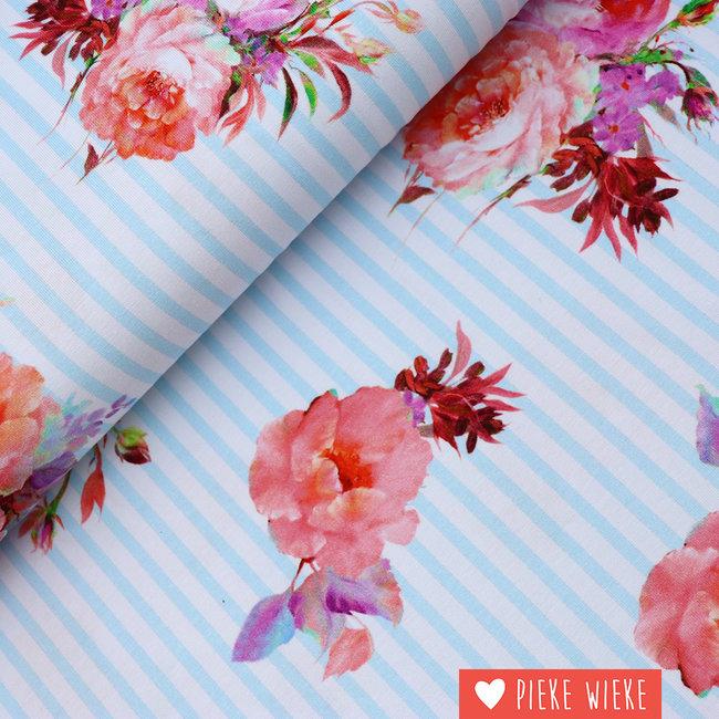 Tricot gestreepte bloemen Blauw