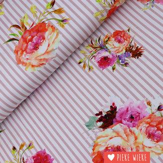 Tricot gestreept bloemen roze