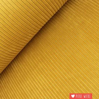 Ribfluweel stretch oker geel