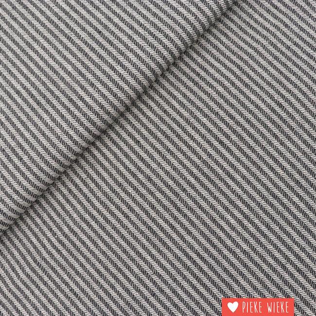 Canvas woven herringbone stripes black