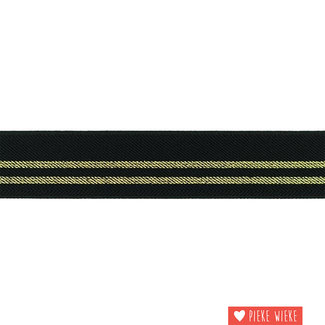 Elastic stripes 3cm Black Gold