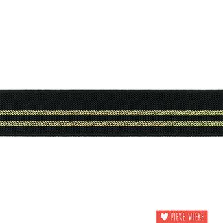Elastiek strepen 3cm Zwart Goud