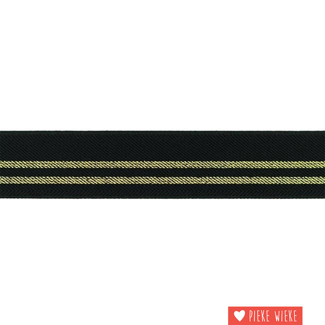 Elastic stripes 3cm Black Gold