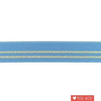 Elastiek strepen 3cm Oud blauw Goud