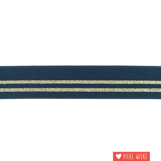 Elastic stripes 3cm Navy Gold