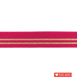 Elastic stripes 3cm Fuchsia Gold