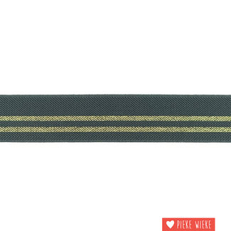 Elastiek strepen 3cm Donker grijs Goud