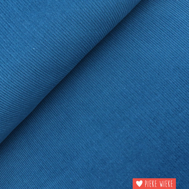Ribfluweel Asblauw