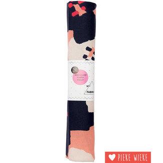 Rico design Gecoatte katoen 50x140cm bloemen roze