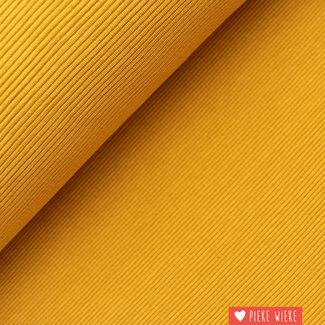 Geribbelde tricot donker geel