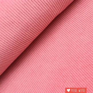 Brede ribfluweel washed roze