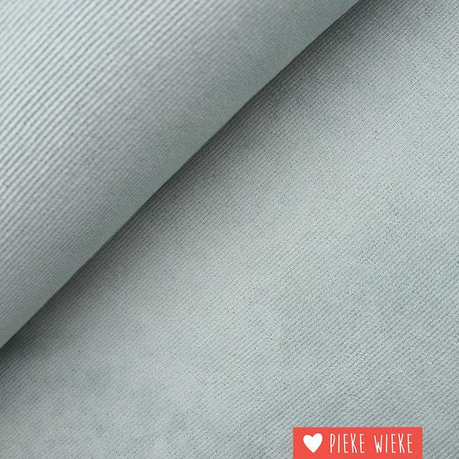 Geribbelde tricot fluweelzacht IJsblauw