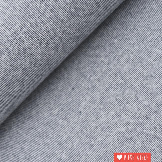 Interlock brushed lijntjes grijs