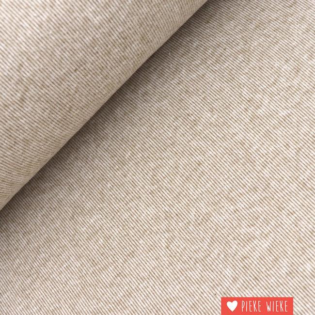 Interlock brushed lijntjes taupe