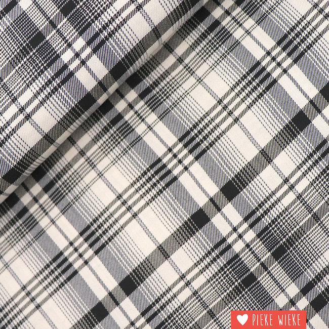 Viscose checks black and white