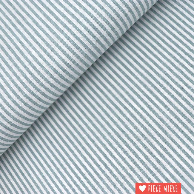 Cotton chambray Storm blue striped