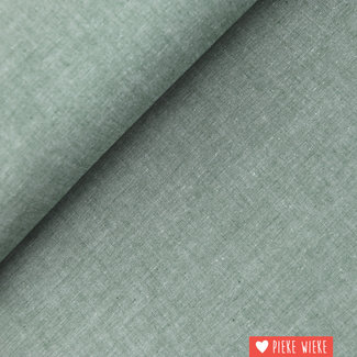 Katoen chambray Donker groen