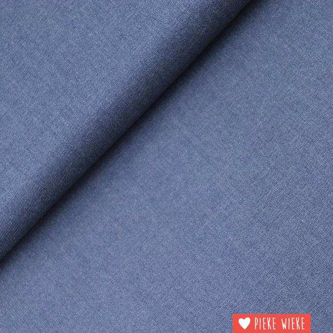 Bamboe twill Jeansblauw melange