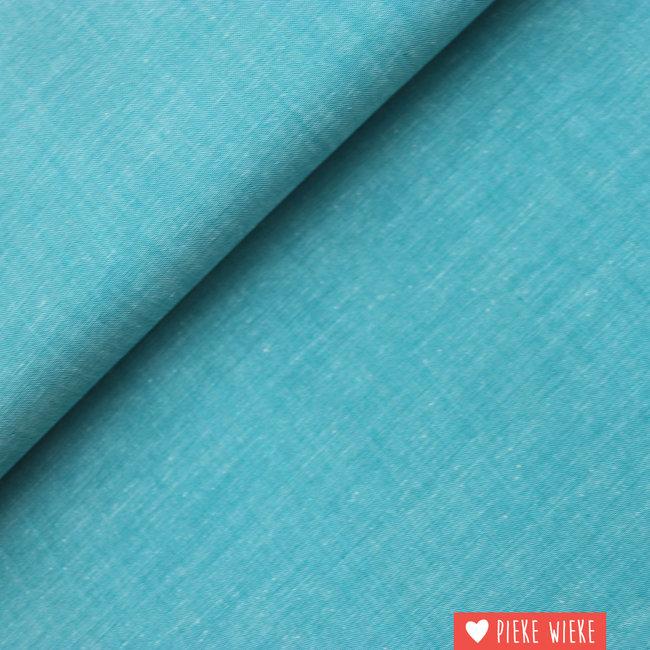 Katoen chambray Turquoise