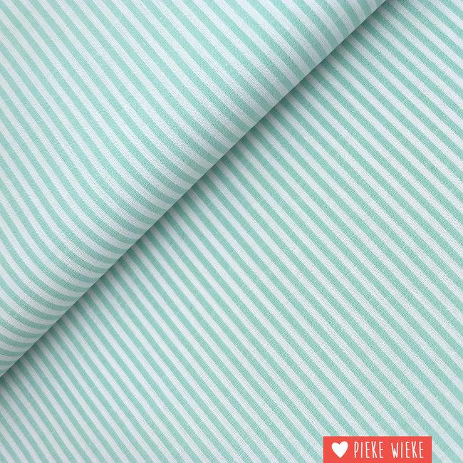 Cotton chambray Mint striped