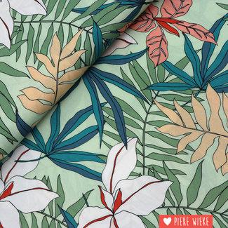 Viscose tropical flowers mint