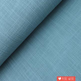 Katoen washed linnen look zeeblauw