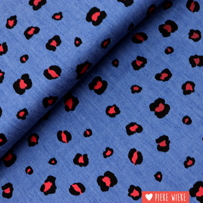 Poppy Cotton chambray Leopard love red