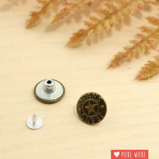 Jeansknoop 18mm Oud goud