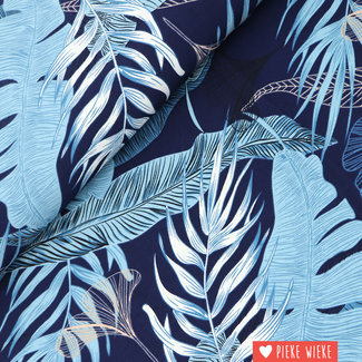 Crincle crepe Tropical leaves Blue