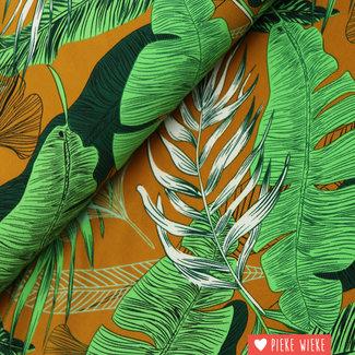 Crincle crepe Tropical leaves Green