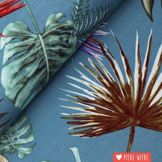 Linen look linio Botanical blue