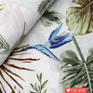Linen look linio Botanical white