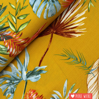 Linen look linio Botanical yellow