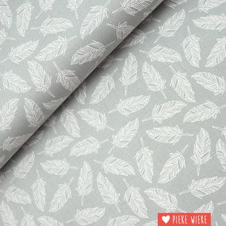 Moda Katoen Veertjes grijs wit