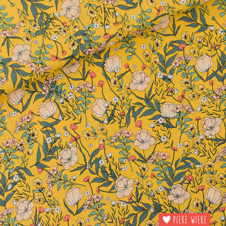 See You at Six Viscose Rayon Summer Flowers Yolk Yellow