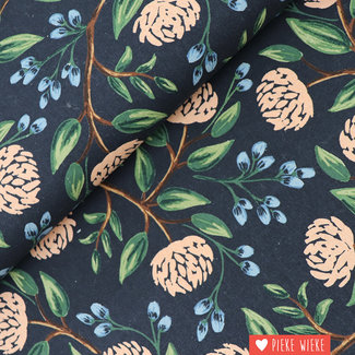 Cotton + Steel Canvas Wildwood Peonies Blue