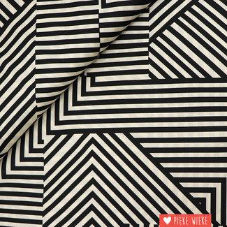 Fibre Mood Satijn look Geometric Zwart wit