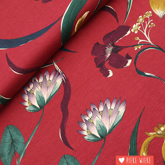 Viscose tricot Flowers burgundy