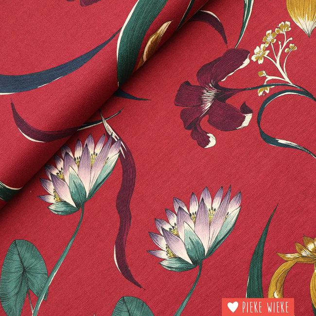 Viscose tricot Flowers burgundy