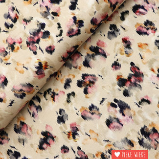 Viscose tricot Digital panter beige