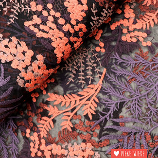 Embroidered tulle black purple coral