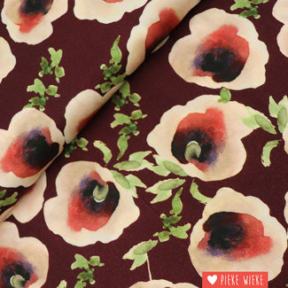 Viscose Autumn poppies